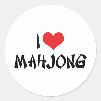 I Love Heart Mahjong - Mah Jong Lover Classic Round Sticker