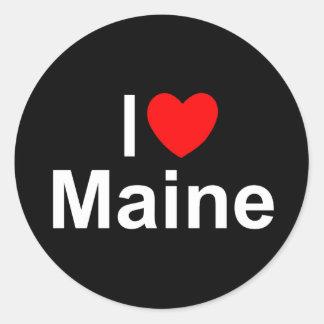 I Love (Heart) Maine Classic Round Sticker