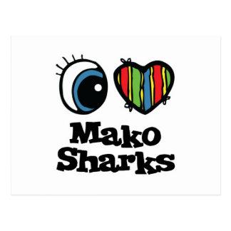 I Love (Heart) Mako Sharks Postcard