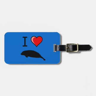 I Love (Heart) Manatees Bag Tag
