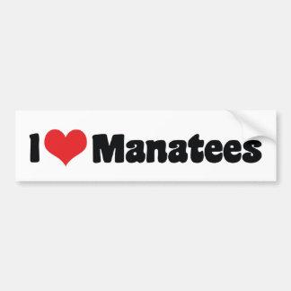 I Love Heart Manatees Bumper Sticker