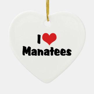 I Love Heart Manatees Ceramic Ornament