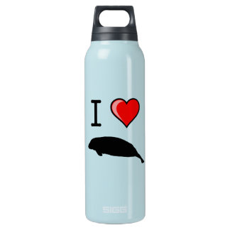 I Love (Heart) Manatees Insulated Water Bottle