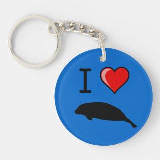 I Love (Heart) Manatees Keychain