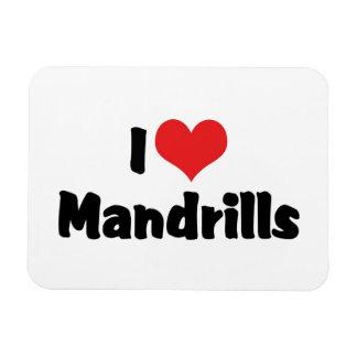 I Love Heart Mandrills Magnet