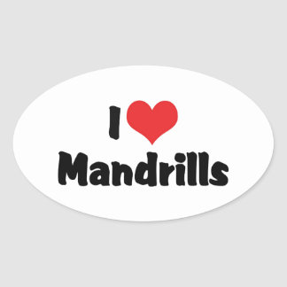 I Love Heart Mandrills Oval Sticker
