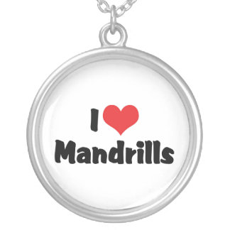 I Love Heart Mandrills Silver Plated Necklace