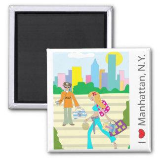 I love (heart)  Manhattan, NY 2 Inch Square Magnet