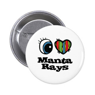 I Love (Heart) Manta Rays 2 Inch Round Button
