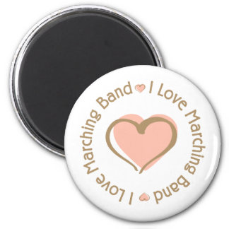 I Love Heart Marching Band 2 Inch Round Magnet