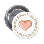 I Love Heart Marching Band - Customized Buttons