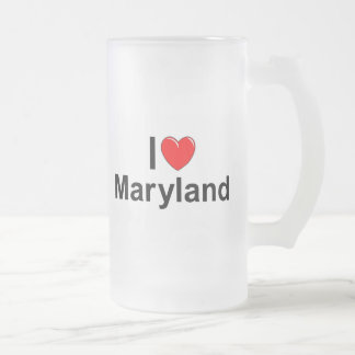I Love (Heart) Maryland Frosted Glass Beer Mug