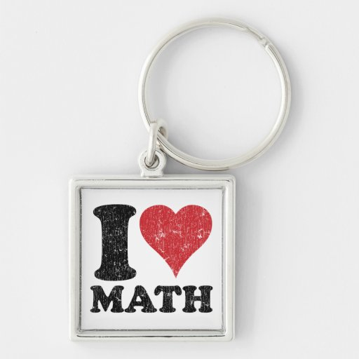I Love (Heart) Math Square, Metal Framed Keychain