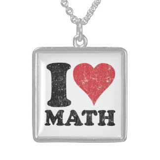 I Love (Heart) Math Sterling Silver Necklace