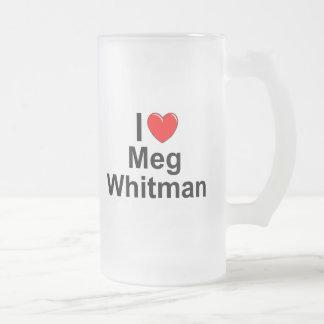 I Love (Heart) Meg Whitman Frosted Glass Beer Mug