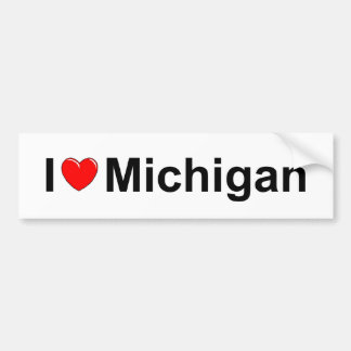I Love (Heart) Michigan Bumper Sticker