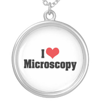 I Love Heart Microscopy Silver Plated Necklace
