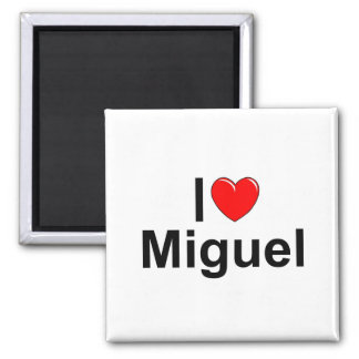 I Love (Heart) Miguel 2 Inch Square Magnet