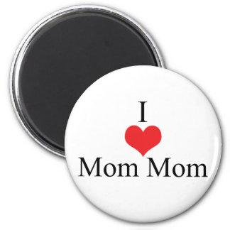 I Love (Heart) MomMom 2 Inch Round Magnet