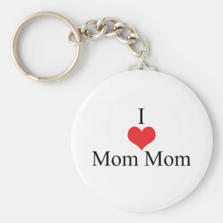 I Love (Heart) MomMom Basic Round Button Keychain