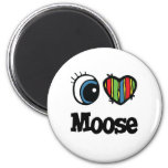 I Love (Heart) Moose 2 Inch Round Magnet