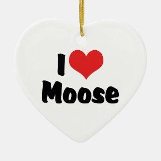 I Love Heart Moose - Moose Lover Ceramic Ornament