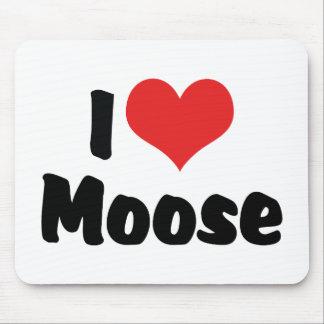 I Love Heart Moose - Moose Lover Mouse Pad
