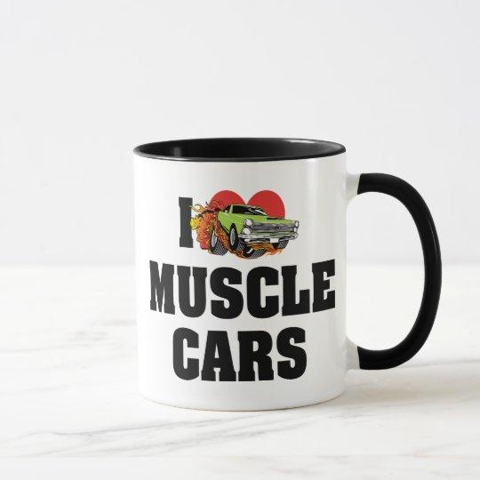 I Love Heart Muscle Cars - Muscle Car Lover Mug