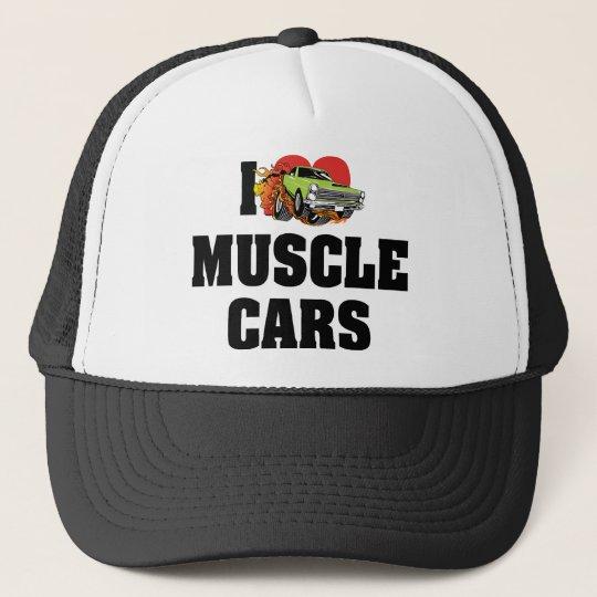 I Love Heart Muscle Cars - Muscle Car Lover Trucker Hat