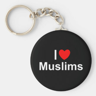 I Love (Heart) Muslims Basic Round Button Keychain