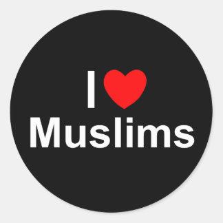 I Love (Heart) Muslims Classic Round Sticker