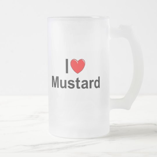 I Love (Heart) Mustard Frosted Glass Beer Mug