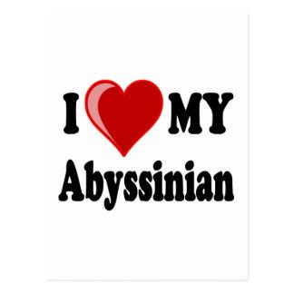 I Love (Heart) My Abyssinian Cat Postcard