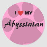 I Love (Heart) My Abyssinian Pawprint Classic Round Sticker