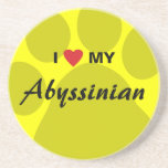 I Love (Heart) My Abyssinian Pawprint Coasters
