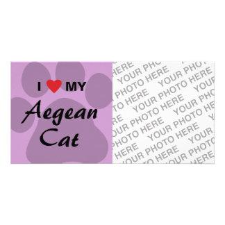 I Love (Heart) My Aegean Cat Pawprint Card
