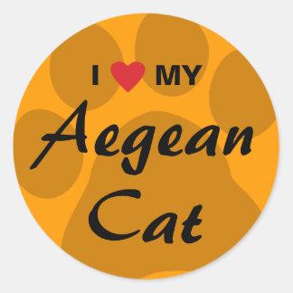 I Love (Heart) My Aegean Cat Pawprint Classic Round Sticker