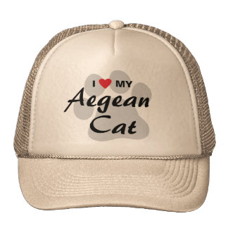 I Love (Heart) My Aegean Cat Pawprint Trucker Hat