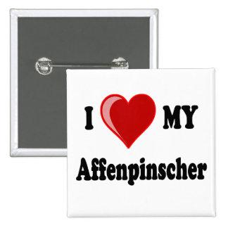 I Love (Heart) My Affenpinscher Dog 2 Inch Square Button
