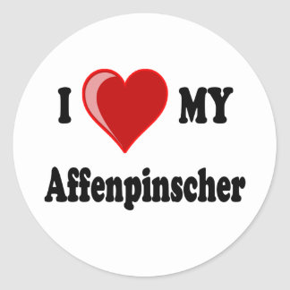 I Love (Heart) My Affenpinscher Dog Classic Round Sticker
