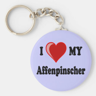 I Love (Heart) My Affenpinscher Dog Keychain