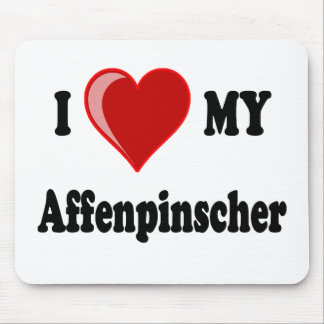 I Love (Heart) My Affenpinscher Dog Mouse Pad