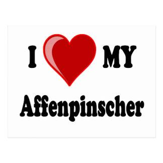 I Love (Heart) My Affenpinscher Dog Postcard