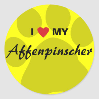 I Love (Heart) My Affenpinscher Paw Print Classic Round Sticker