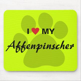 I Love (Heart) My Affenpinscher Paw Print Mouse Pad