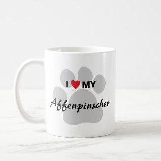 I Love (Heart) My Affenpinscher Paw Print Classic White Coffee Mug