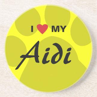 I Love (Heart) My Aidi Paw Print Drink Coaster