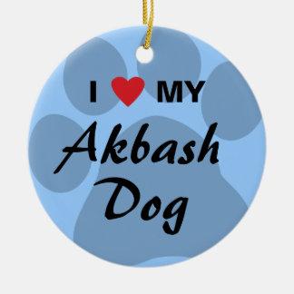 I Love (Heart) My Akbash Dog Ceramic Ornament