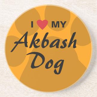 I Love (Heart) My Akbash Dog Sandstone Coaster