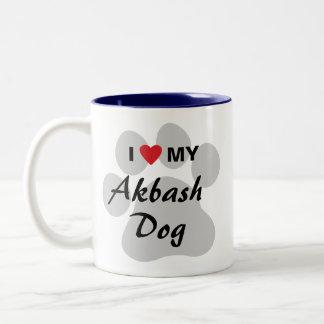 I Love (Heart) My Akbash Dog Two-Tone Coffee Mug